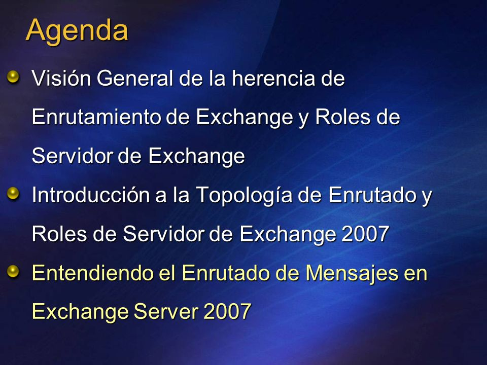 AgendaVisión General de la herencia de Enrutamiento de Exchange y Roles de Servidor de Exchange.
