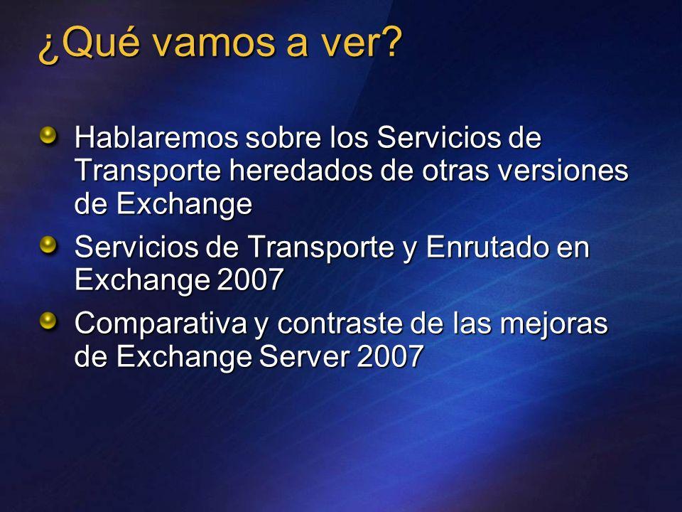 ¿Qué vamos a ver Hablaremos sobre los Servicios de Transporte heredados de otras versiones de Exchange.