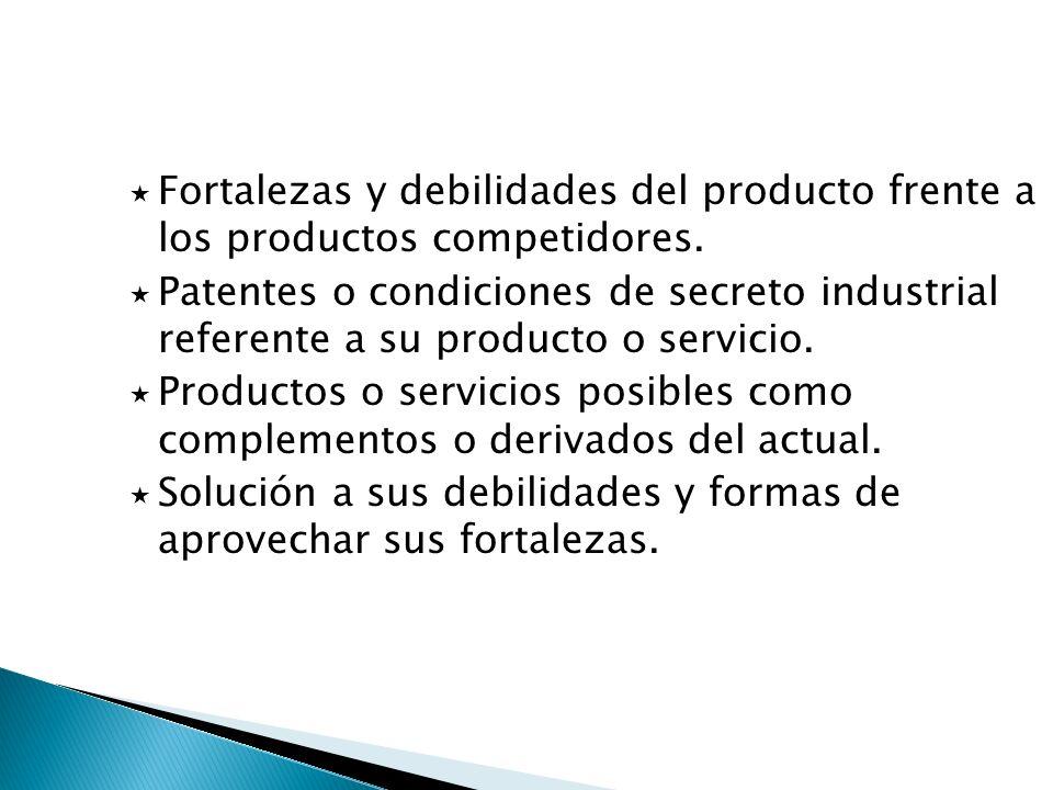 Fortalezas y debilidades del producto frente a los productos competidores.