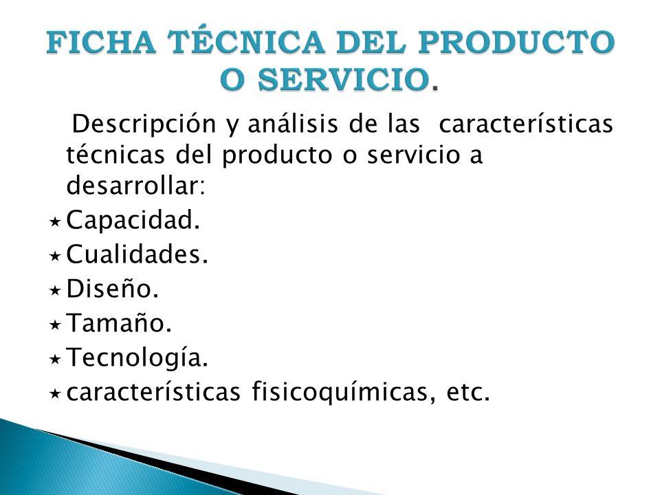 FICHA TÉCNICA DEL PRODUCTO O SERVICIO.