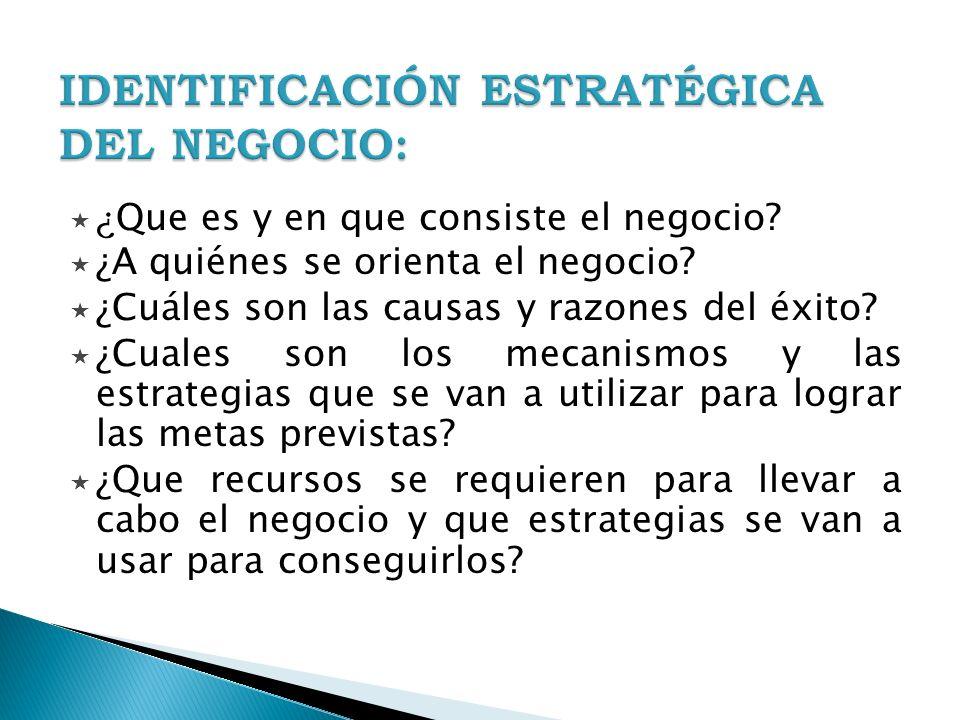 IDENTIFICACIÓN ESTRATÉGICA DEL NEGOCIO: