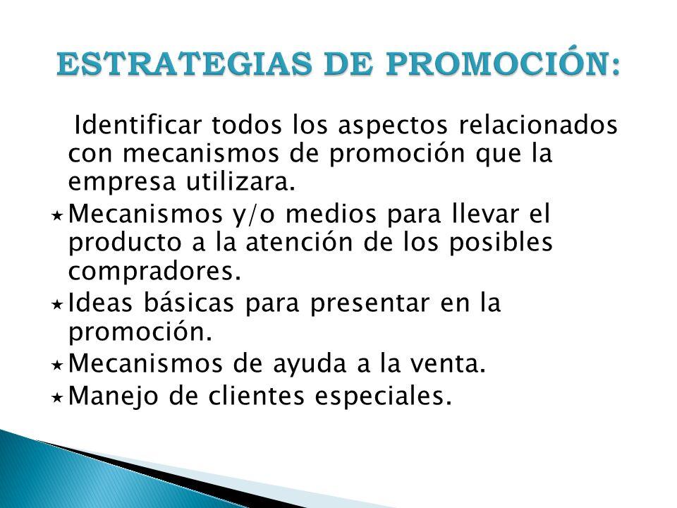 ESTRATEGIAS DE PROMOCIÓN:
