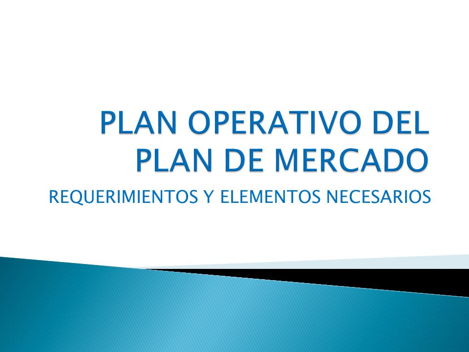 PLAN OPERATIVO DEL PLAN DE MERCADO