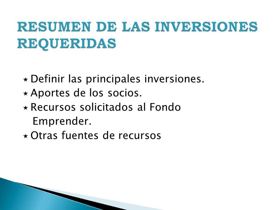 RESUMEN DE LAS INVERSIONES REQUERIDAS