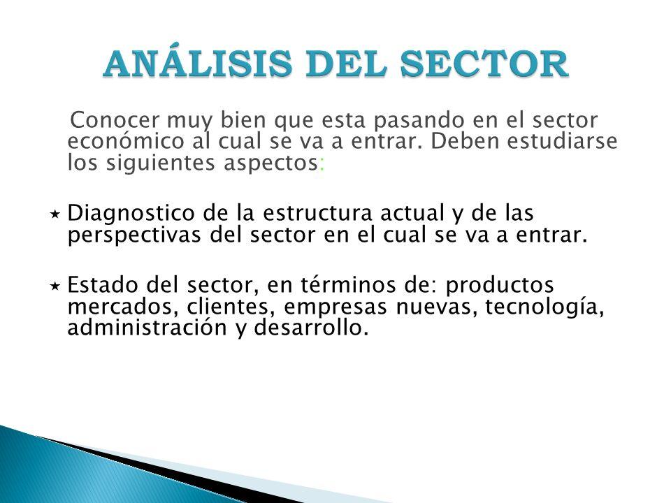 ANÁLISIS DEL SECTOR Conocer muy bien que esta pasando en el sector económico al cual se va a entrar. Deben estudiarse los siguientes aspectos:
