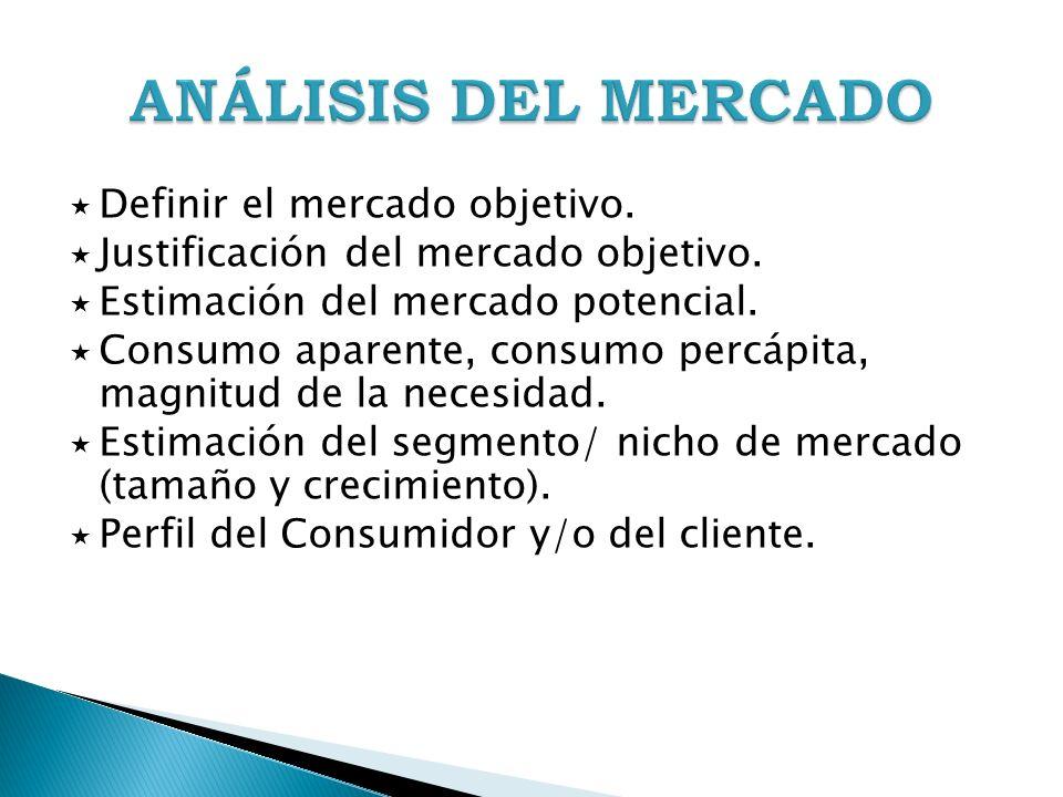ANÁLISIS DEL MERCADO Definir el mercado objetivo.