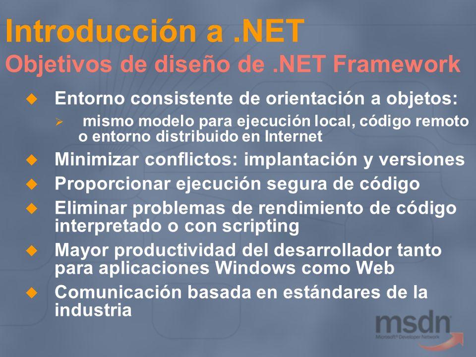 Introducción a .NET Objetivos de diseño de .NET Framework