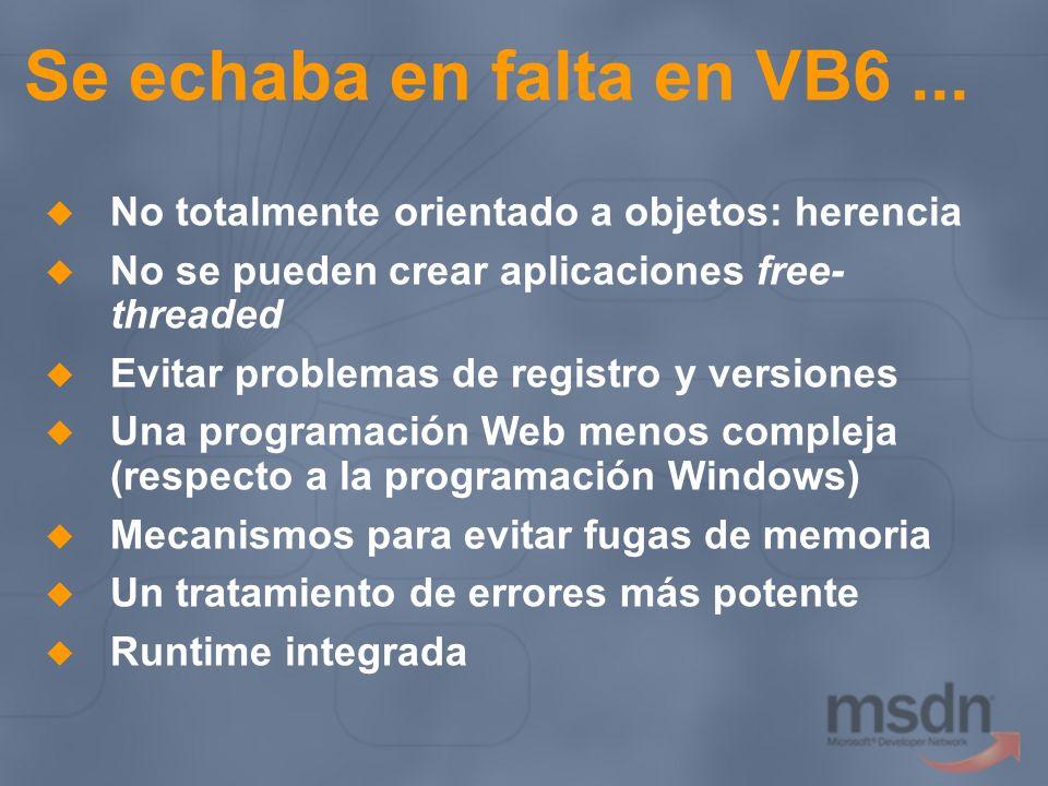 Se echaba en falta en VB6 ... No totalmente orientado a objetos: herencia. No se pueden crear aplicaciones free-threaded.