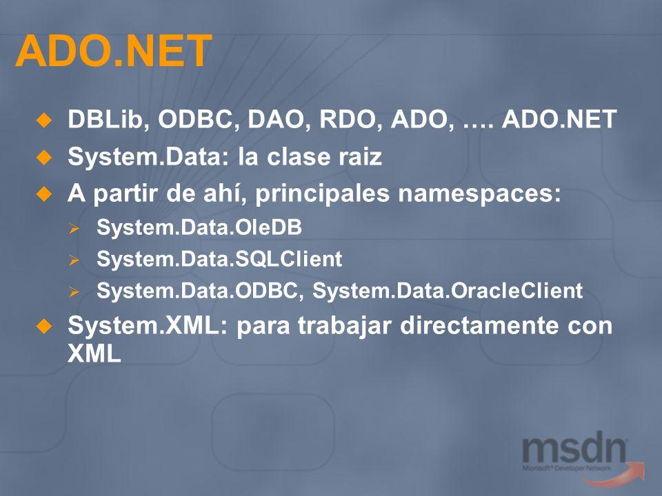 ADO.NET DBLib, ODBC, DAO, RDO, ADO, …. ADO.NET