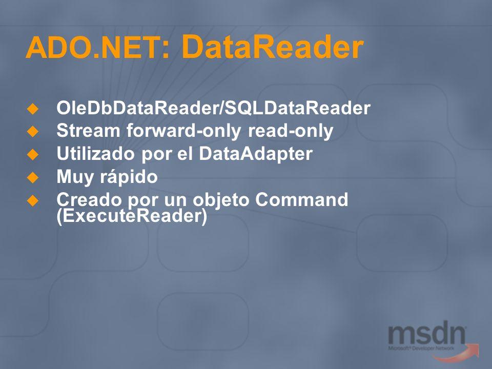 ADO.NET: DataReader OleDbDataReader/SQLDataReader