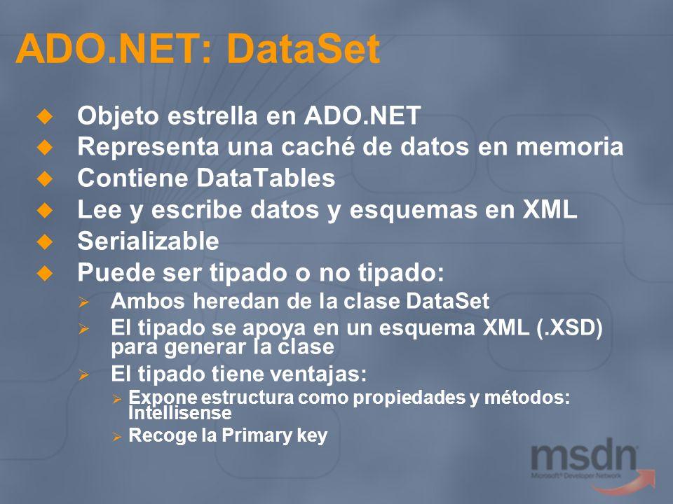 ADO.NET: DataSet Objeto estrella en ADO.NET