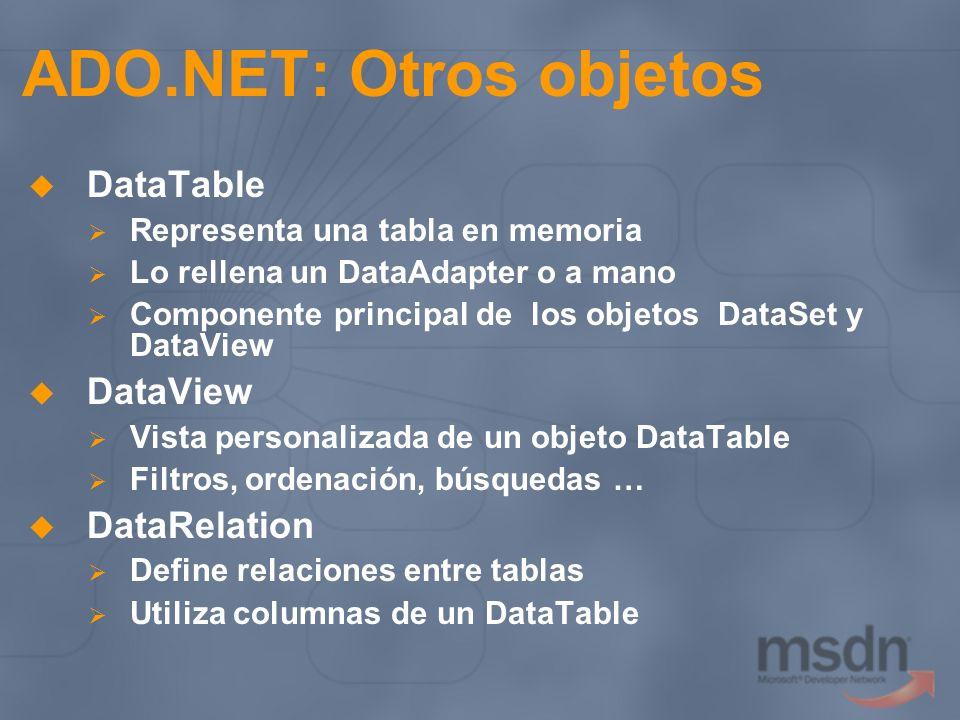 ADO.NET: Otros objetos DataTable DataView DataRelation