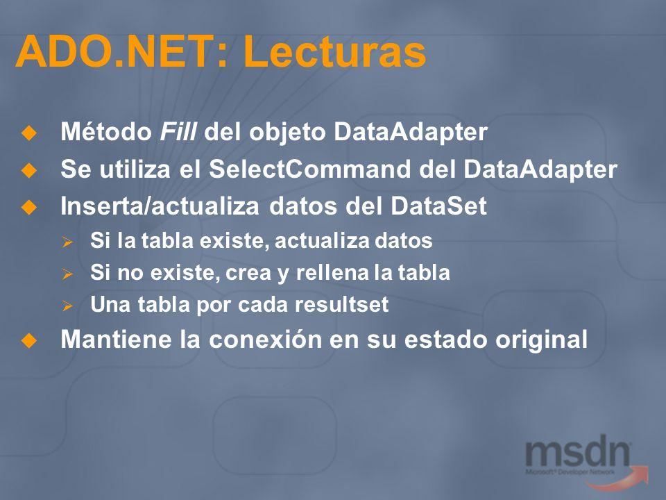 ADO.NET: Lecturas Método Fill del objeto DataAdapter