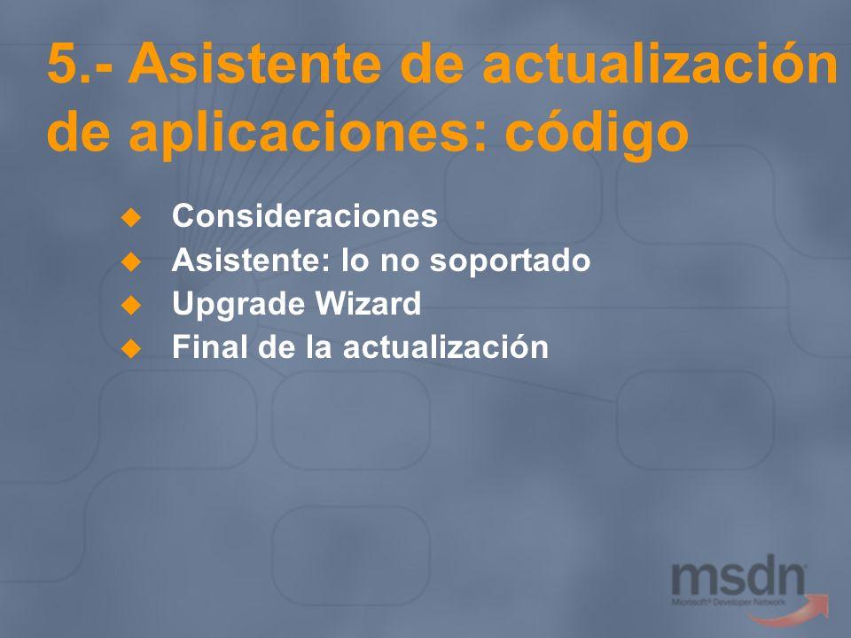 5.- Asistente de actualización de aplicaciones: código