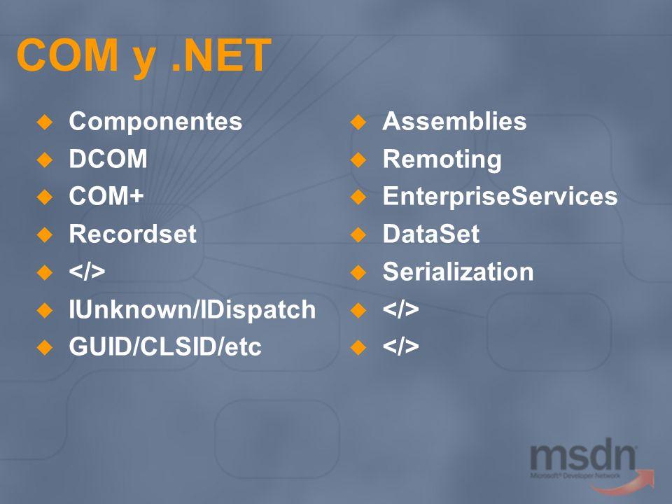 COM y .NET Componentes DCOM COM+ Recordset </>