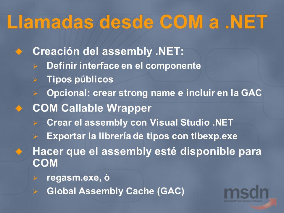 Llamadas desde COM a .NET