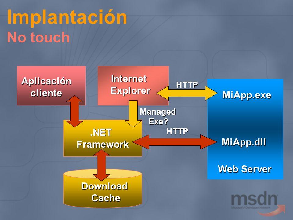 Implantación No touch Internet Aplicación Explorer cliente MiApp.exe