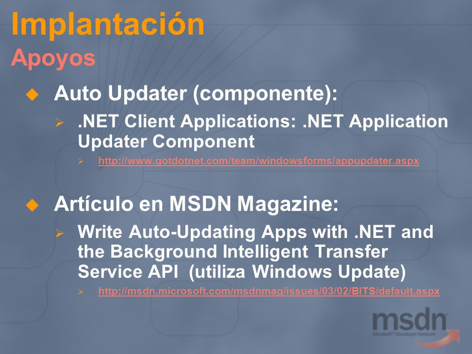 Implantación Apoyos Auto Updater (componente):