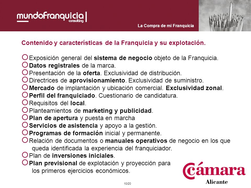 Contenido y características de la Franquicia y su explotación.
