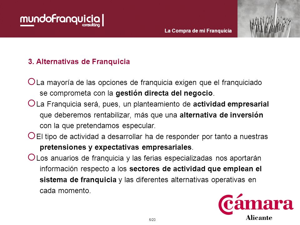 3. Alternativas de Franquicia