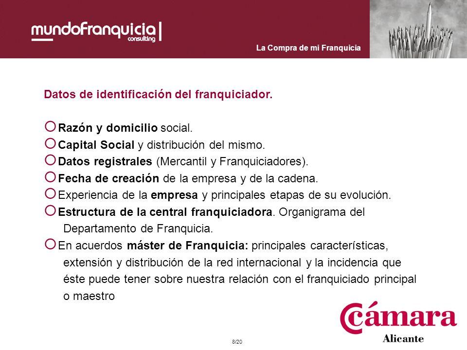Datos de identificación del franquiciador. Razón y domicilio social.