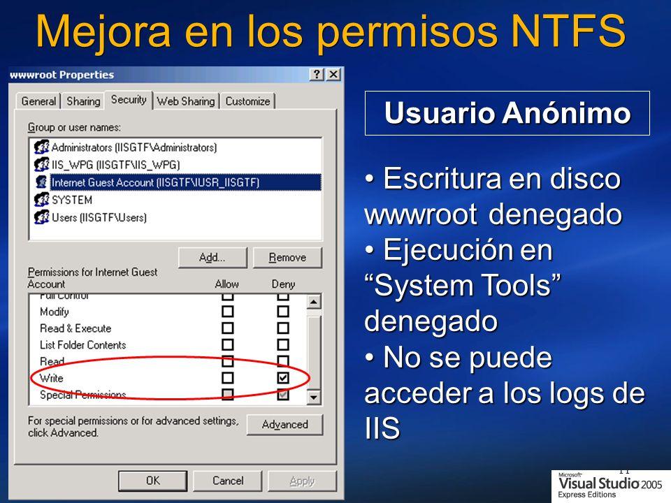 Mejora en los permisos NTFS