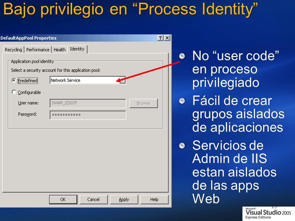 Bajo privilegio en Process Identity