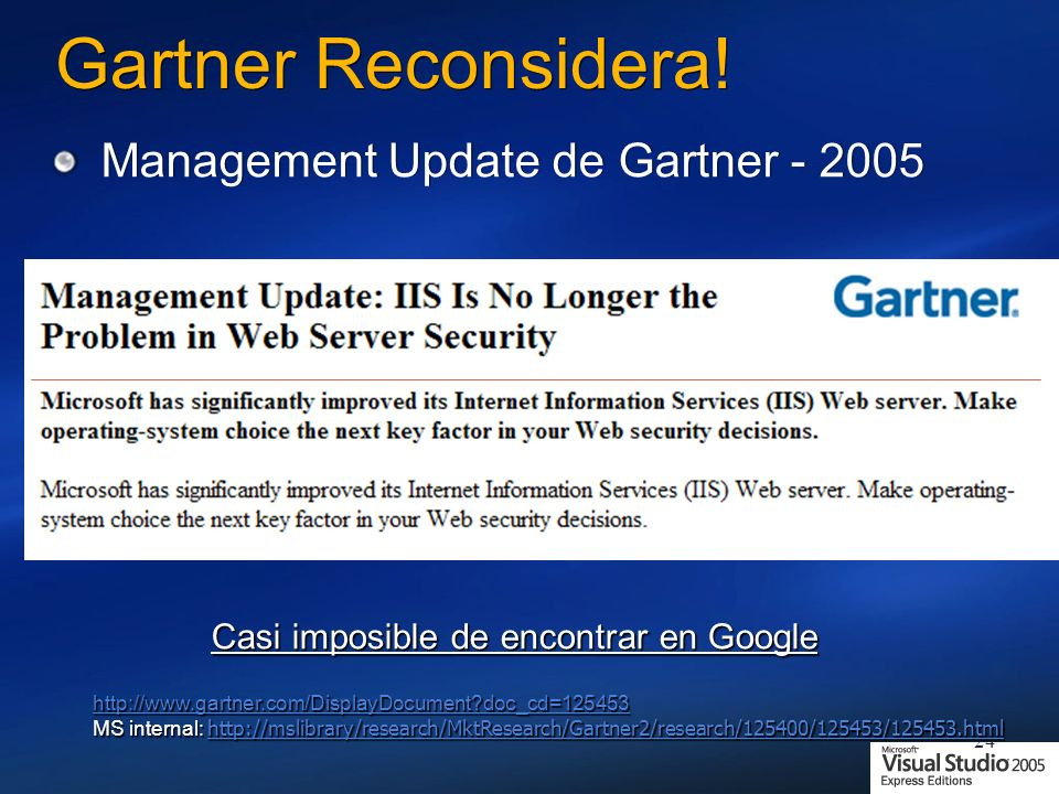 Gartner Reconsidera! Management Update de Gartner - 2005