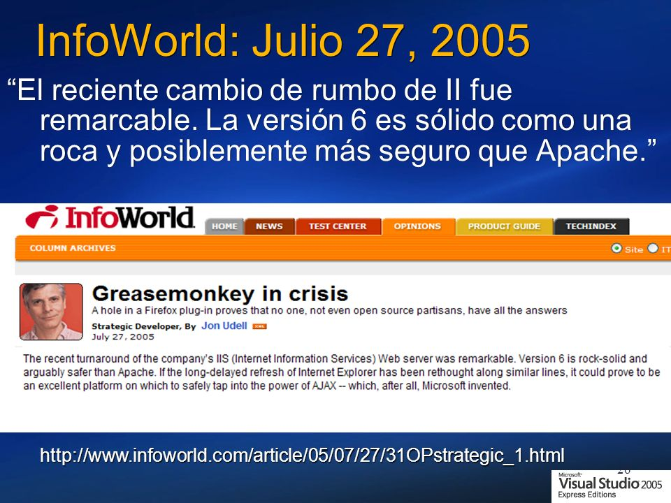 InfoWorld: Julio 27, 2005
