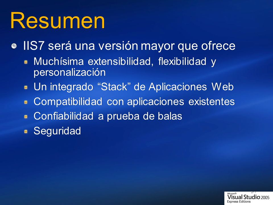 Resumen IIS7 será una versión mayor que ofrece