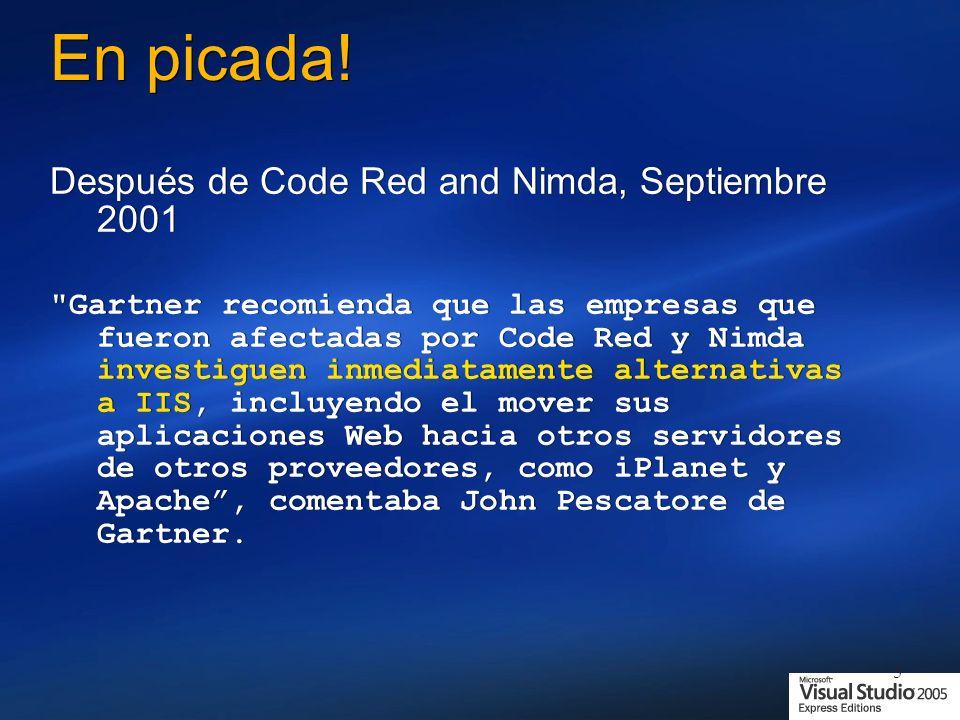 En picada! Después de Code Red and Nimda, Septiembre 2001