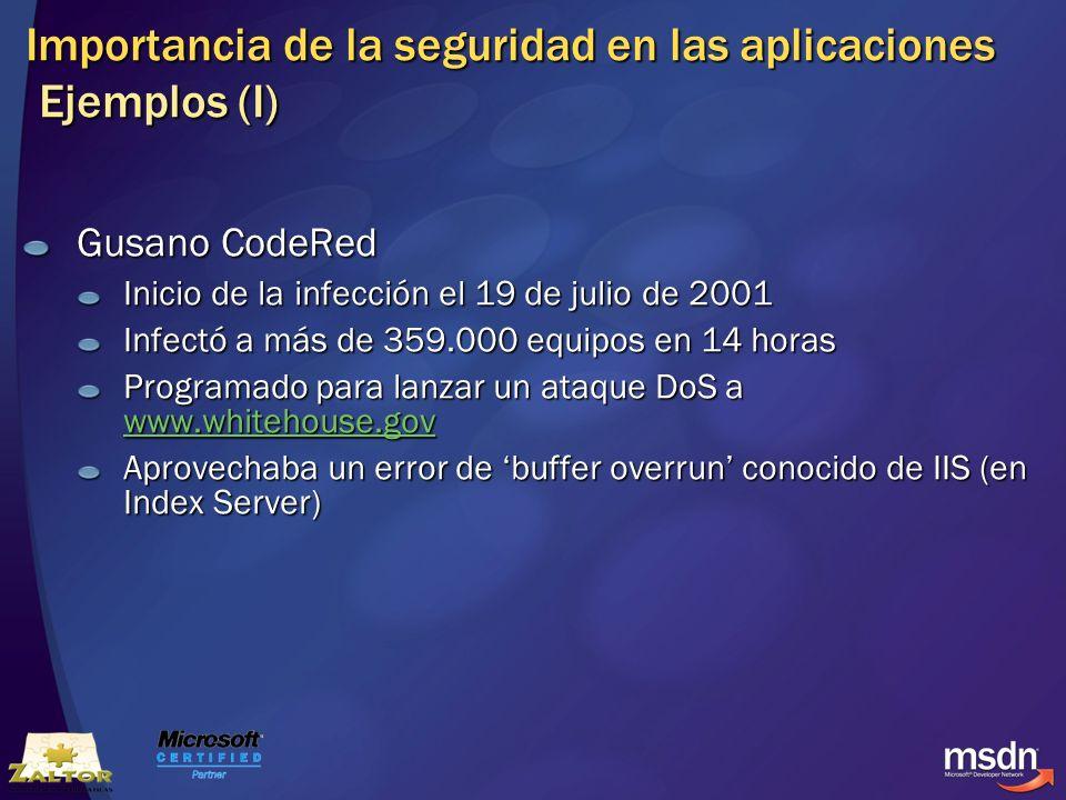 Importancia de la seguridad en las aplicaciones Ejemplos (I)