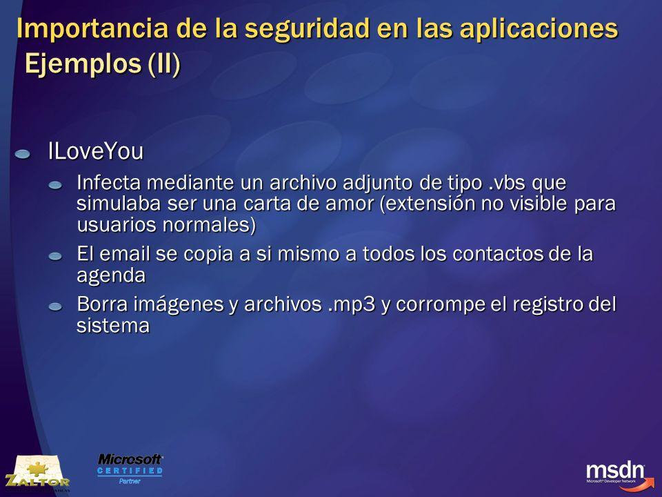 Importancia de la seguridad en las aplicaciones Ejemplos (II)