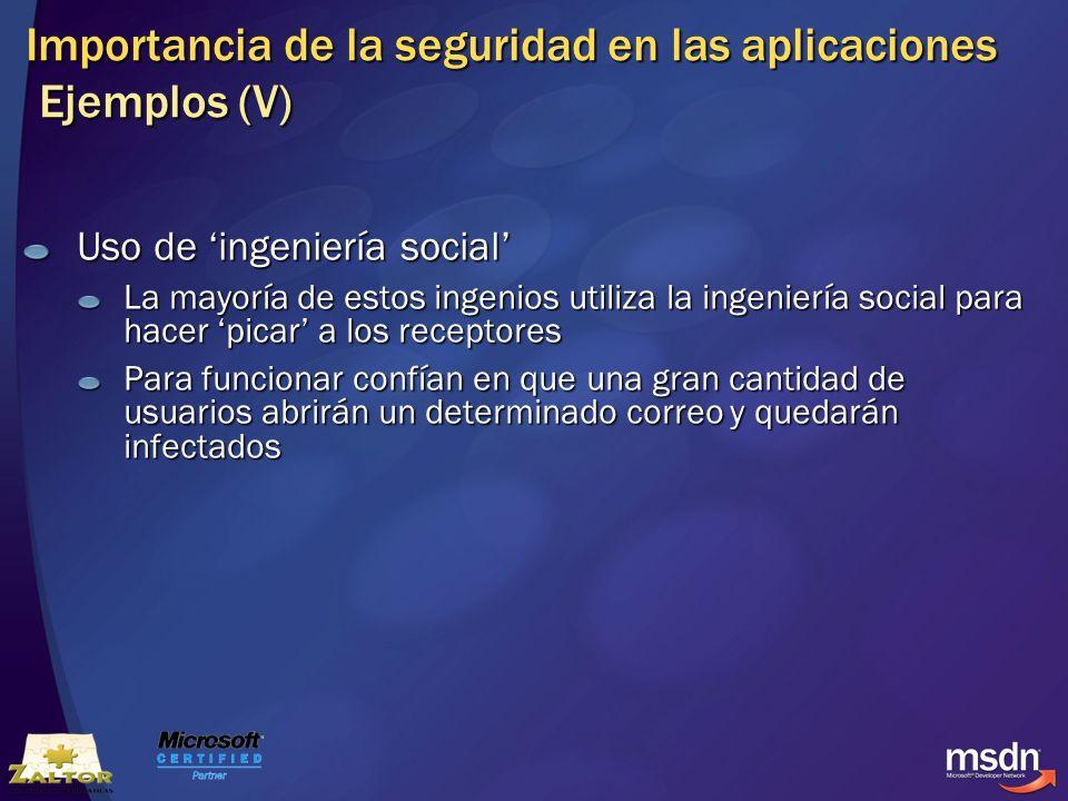 Importancia de la seguridad en las aplicaciones Ejemplos (V)