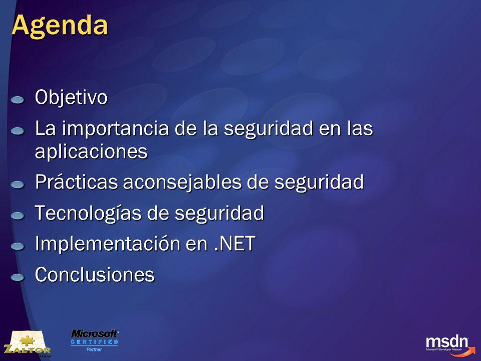 Agenda Objetivo La importancia de la seguridad en las aplicaciones