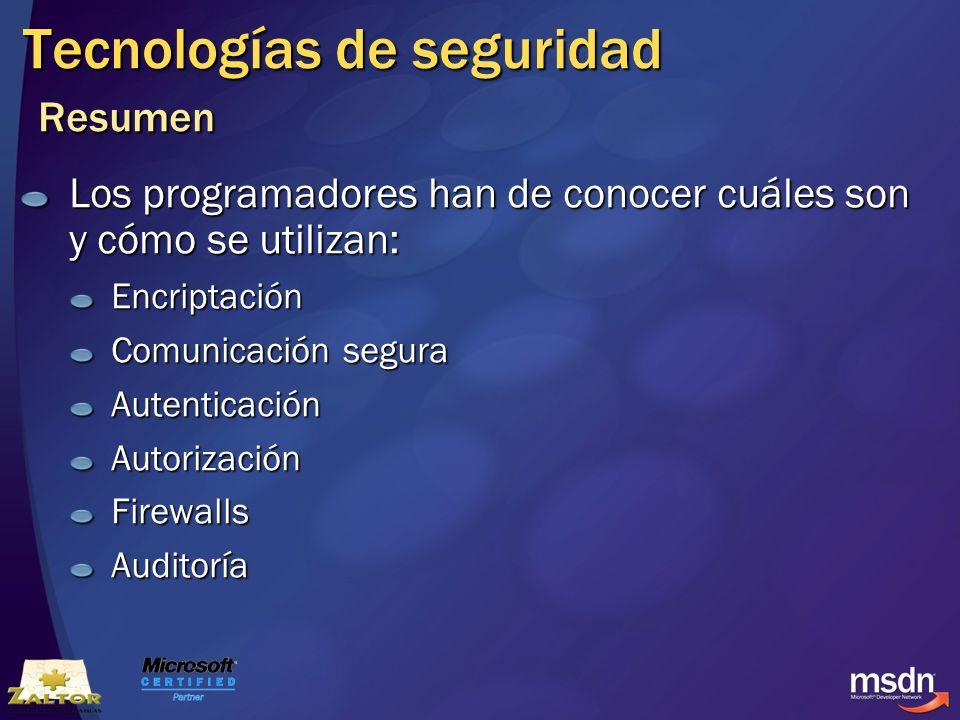 Tecnologías de seguridad Resumen