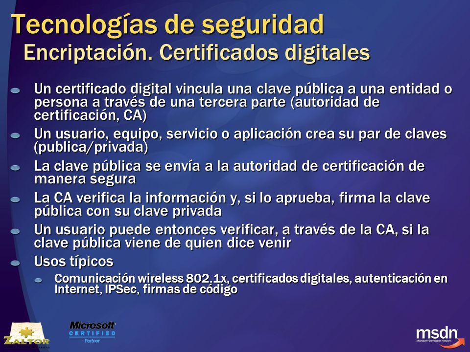 Tecnologías de seguridad Encriptación. Certificados digitales