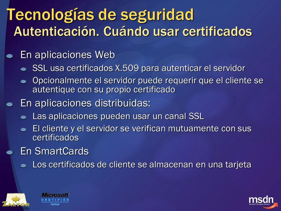 Tecnologías de seguridad Autenticación. Cuándo usar certificados