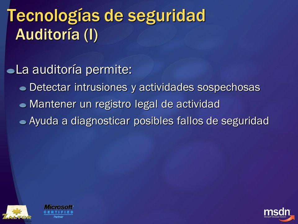 Tecnologías de seguridad Auditoría (I)