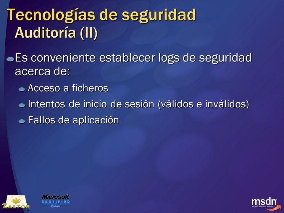 Tecnologías de seguridad Auditoría (II)