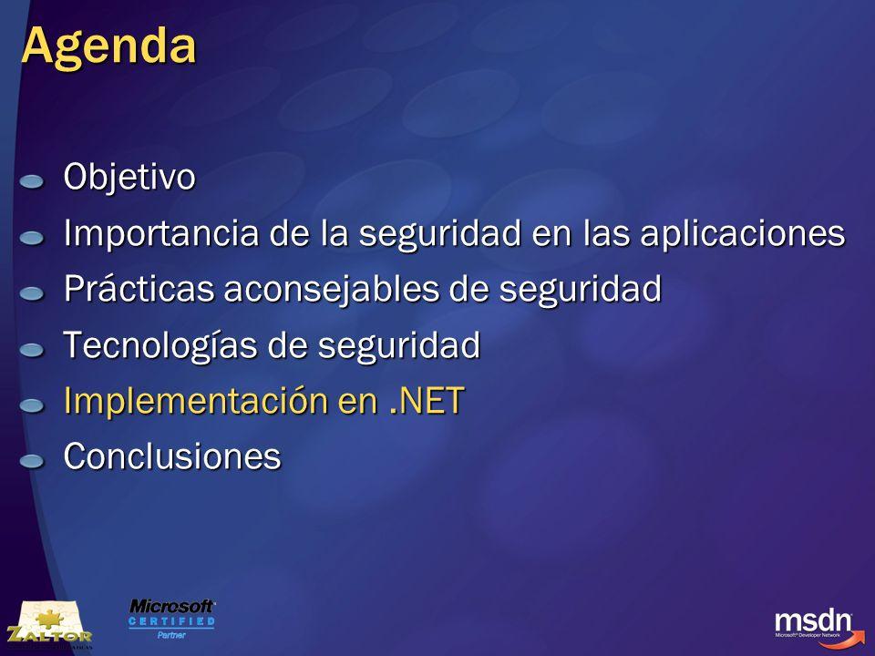 Agenda Objetivo Importancia de la seguridad en las aplicaciones