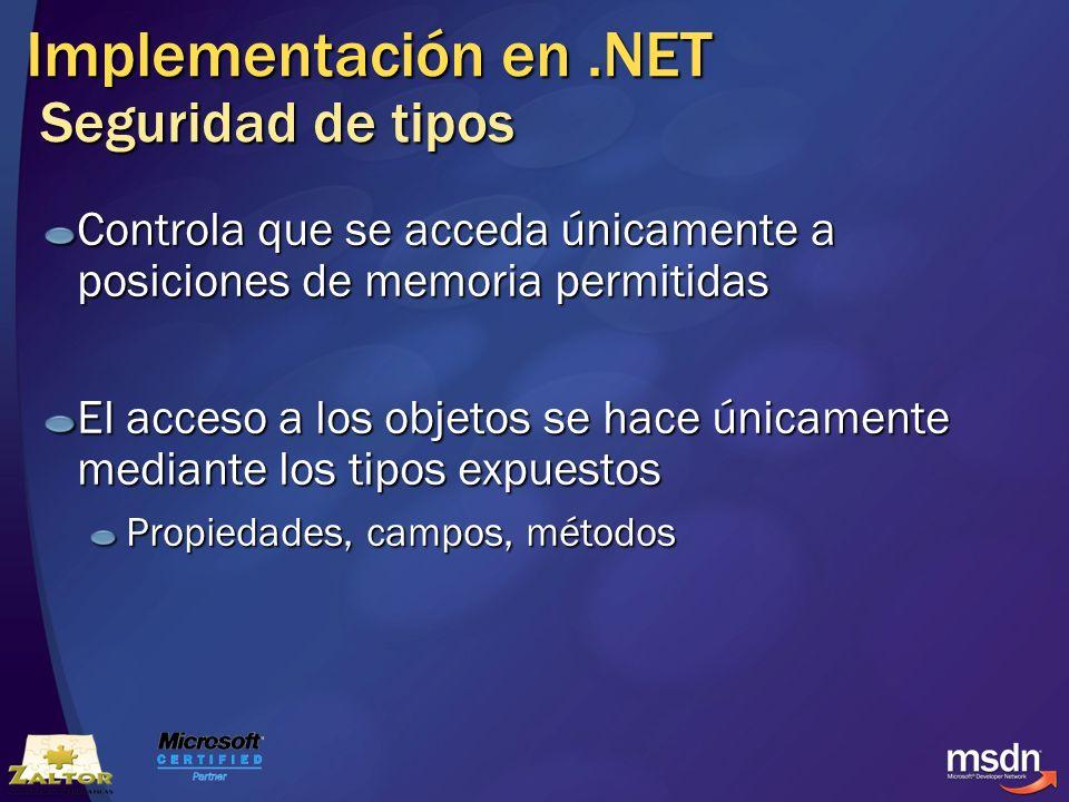 Implementación en .NET Seguridad de tipos