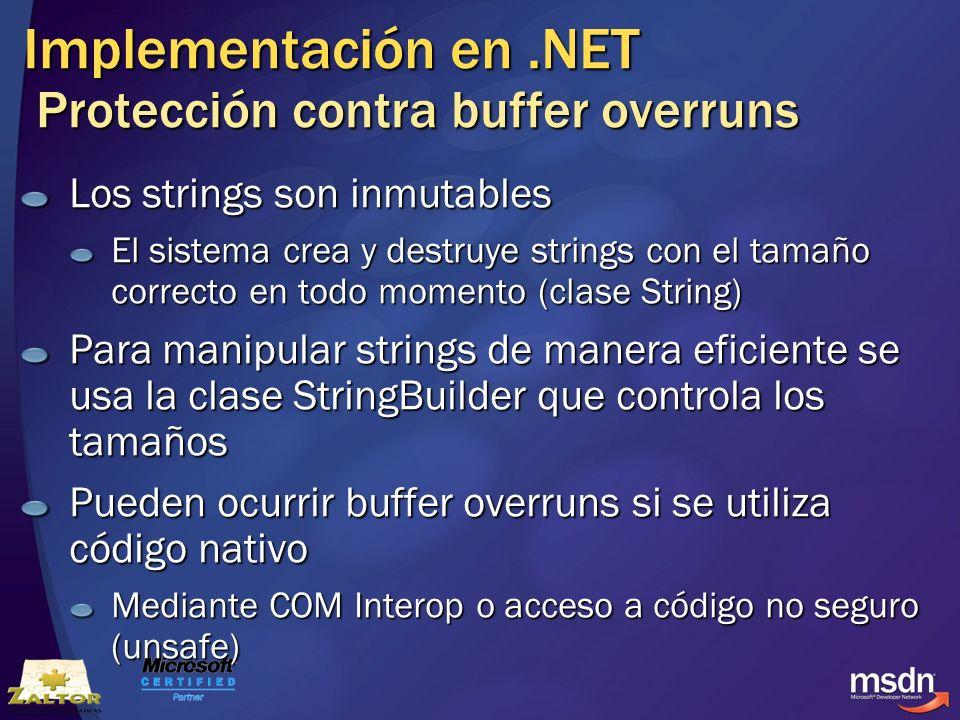 Implementación en .NET Protección contra buffer overruns