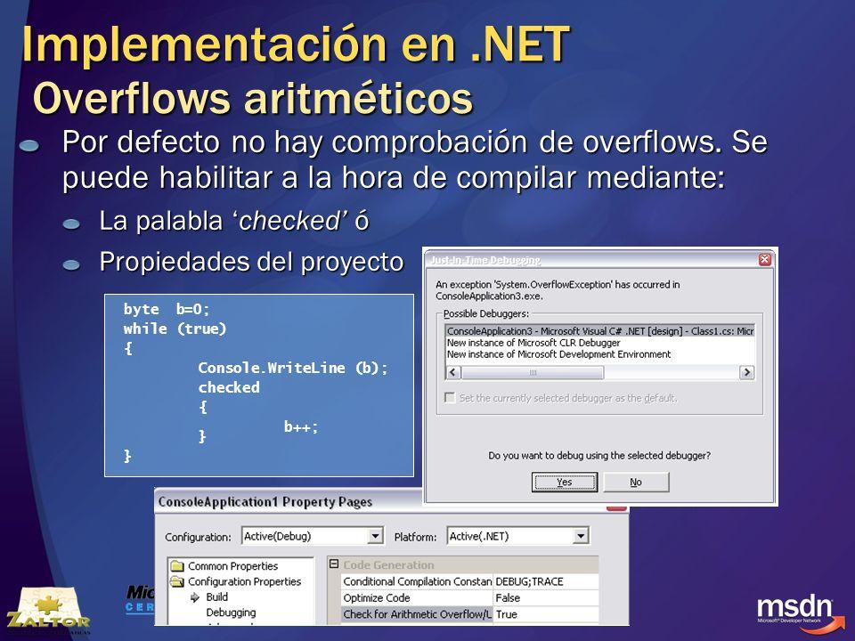 Implementación en .NET Overflows aritméticos