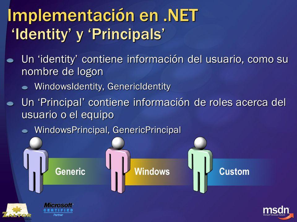 Implementación en .NET 'Identity' y 'Principals'