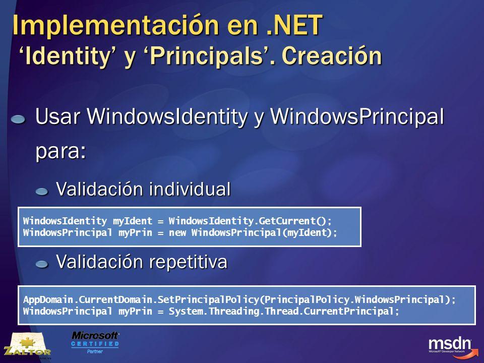 Implementación en .NET 'Identity' y 'Principals'. Creación