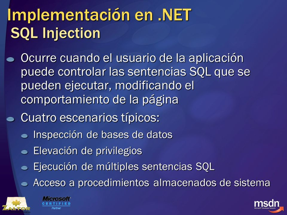 Implementación en .NET SQL Injection