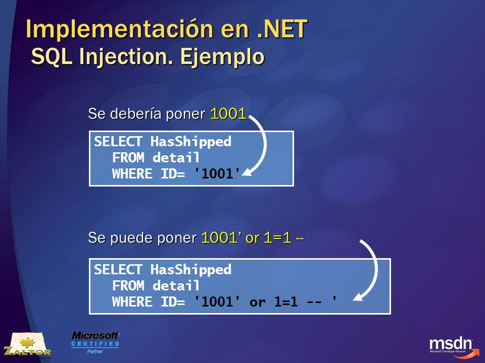 Implementación en .NET SQL Injection. Ejemplo