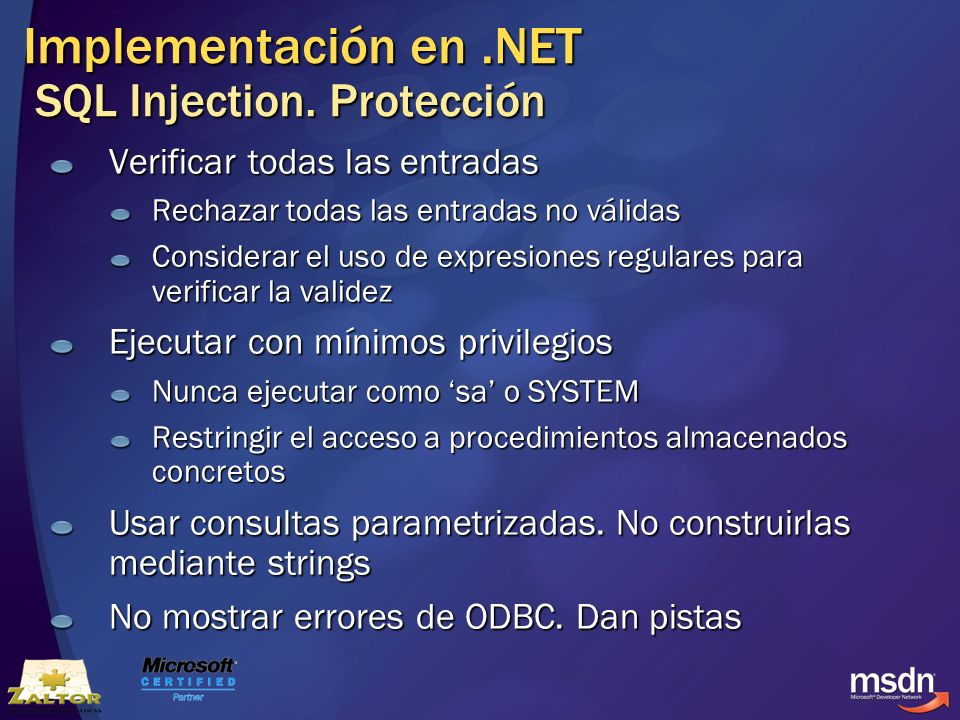 Implementación en .NET SQL Injection. Protección