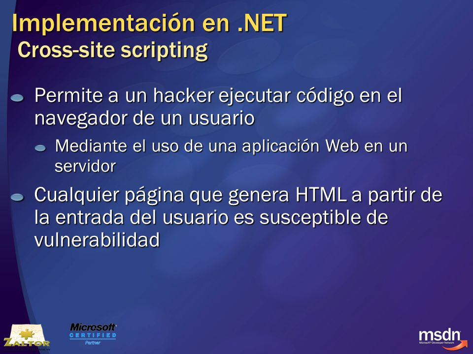 Implementación en .NET Cross-site scripting